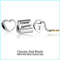Authentic 925 sterling silver key to heart charm sets valentine's day jewelry sets for women fit famous brand diy bracelets NS98
