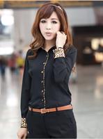 Shirt Women Promotion Cotton Oxford Full Slash Neck None Women 2015 New Autumn Korean Spell Color Sleeve Dress Shirt Leopard