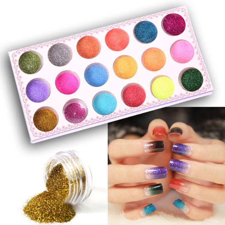 1 Set 18 Colors Nail Art Glitter Powder Dust Decoration kit For Acrylic Tips UV Gel DIY#M01200(China (Mainland))