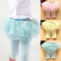 Kids Baby Girls Culottes Leggings Gauze Pants Party Skirts Bow Candy Tutu Dress Free Shipping