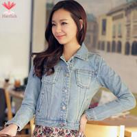 2015 Spring Autumn Vintage Ladies Denim Jackets S M L XL Long Sleeve Retro Slim Short Jaquetas Jeans Jacket Women Coat J19181S