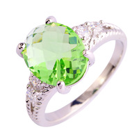 Fashion Women Jewelry Junoesque Green Amethyst 925 Silver Ring Elegant Size 5 6 7 8 9 10 11 12 New Free Shipping Wholesale