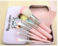 free shipping!New Hello Kitty 7 Pieces Professional Makeup Brush Cosmetic Brush Metal box (1pcs/lot )