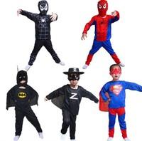 Free Shipping 1set=mask+Top+Pant Spider man Batman Superman Zorro Children Halloween Costume Suit S M L Party Supplies