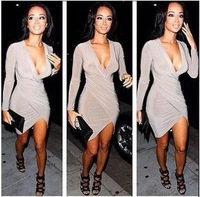 2015 new European and American stars with models hot woman sexy nightclub light-colored dress deep v-neck women dress