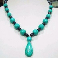 """7-8mm Black Akoya Pearl&Turquoise Necklace 18"""""""