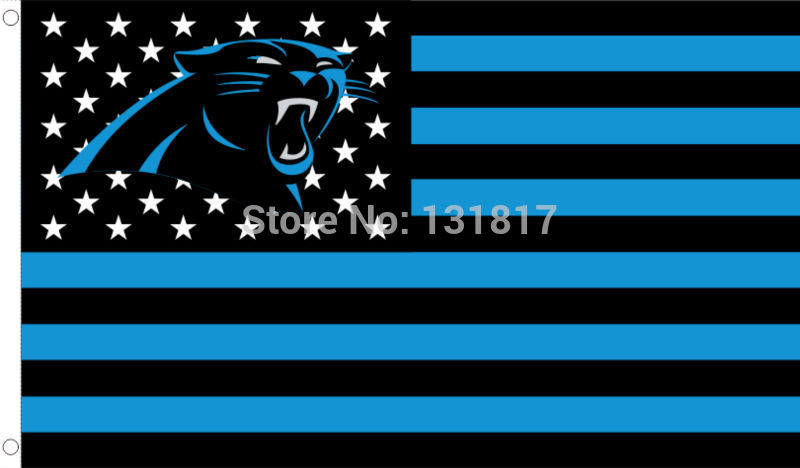nfl flag carolina panthers with modified US flag 3ft x 5ft polyester NFL banner custom flag(China (Mainland))