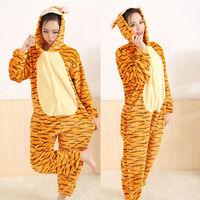 Winter Jump Tiger Pajamas Cartoon Animal Pajama Sets Women and men Couple Household Clothes Fleece Sleepwear Free Shipping