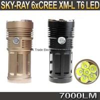 20sets,SKY RAY 7000 Lumens 6T6 6 x CREE XM-L XML T6 LED Flashlight Head Torch 18650 Lanterna Lantern Flash Light By 4*18650