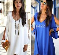 2015 New Women Summer Dress  Sexy Womens Loose Sexy V Neck Strapless A-line Casual Mini Shirt Dress White Beach Dresses Z 104