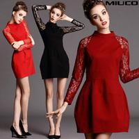 2014 lace long-sleeve involucres dress slim waist ladies one-piece dress