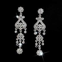 New Women Fashion Long Big SWA Element Crystal Alloy Chandelier Drop Earrings Bridal Wedding Silver Ear Stud Jewelry LE1015