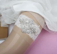 Wholesale New Design Wedding garter Rhinestones Applique Lace bridal Garter Handmade White color