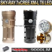 20sets,SKY RAY 9000 Lumens 7T6 7 x CREE XM-L XML T6 LED Flashlight Lamp Torch 18650 Flash Light + 4*18650 Battery+Charger