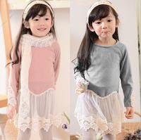 2015 Baby Girls Spring Cotton Lace Hem Tulle Dresses Princess Koreal Fashion Clothing  Pink Grey  Wholesale,5 pcs/lot,