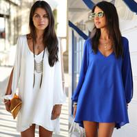 2015 new Casual Dress plus  loose v-neck chiffon A-line dress women's street fashion Vestidos 9406