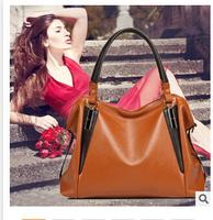 "The new fashion 2015 Europe and America brand handbag handbag litchi grain recreation splicing lady bag ""women messenger bags"