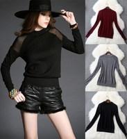 round collarknit gauze stitching knit sweater Slim bottoming shirt brand design cardigan