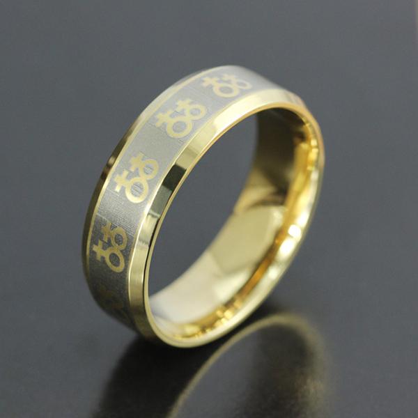 fashion titanium steel ring titanium gold