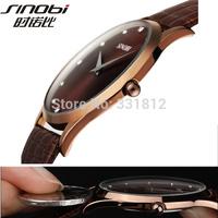 2015 New Fashion Classic SINOBI Leather Strap Mens Man Fashion Style Quartz Military Slim Wrist Watch ,FREE SHIPPING