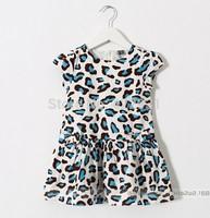 New arrival leopard dress child short sleeve rapunzel girls dress summer valentine clothes for baby girl fancy dress