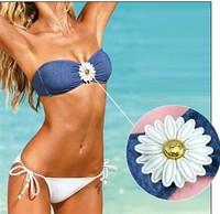 2015 New Women's Clothing Ladies Denim Swimwears women Bikinis Set push up bathing suit high waist bikini brazilian