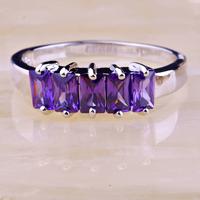 2015 Women Saucy Jewelry Purple Amethyst 925 Silver Ring Size 9 New Fashion  Free Shipping Wholesale