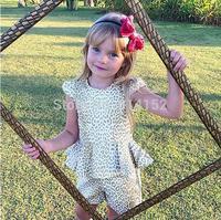Retail 2015 summer new girls clothing set kids golden leopard dress top+pants 2pcs girl clothes sets suit children clothing suit