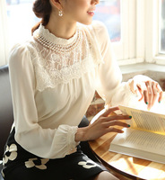 S-XL 2015 Spring New women's Lace shirts Pearl Necklace Fashion Lady Blouses Cute Floral Chiffon renda blusas vintage tops T-046