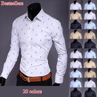 2015 free shipping fashion brand long sleeve casual mens dress shirt hot selling print single breasted slim fit mens shirt UG812