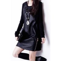 women's PU leather dress patchwork plus size slim ol elegant long-sleeve basic one-piece dress 2015 spring autumn