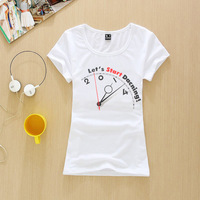 Wild fashion T-shirt 2015 High Quality 3D Print Short Sleeve Brand T-shirt bust 78 Size Women T Shirt let's start daning
