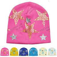 New Design Baby cap Bling Star hat cotton hats boys & girls gift skull caps Beanie Hats & Caps Newborn Baby Accessories QH00087