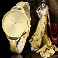 2015 New Fashion Gold Watch Luxury Brand Women Dress Watches Quartz Casual Watch.Wristwatch Clock Relogios Femininos Reloj Mujer