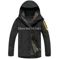 2015 Spring-Autumn Winter 3 in 1 Casual Outdoor Sports Jacket Men Windbreaker Hooded outdoors Coats waterproof skiing jackets