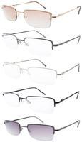 5-pc Spring Hinge Half-rim Reading Glasses Including Sun Readers R1511+0.5/0.75/1.0/1.25/1.5/1.75/2.0/2.25/2.5/2.75/3.0/3.5/4.0