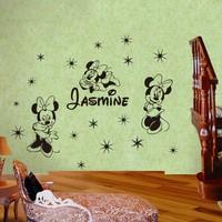 Custom Name Cartoon Minne Mouse Wall sticker Home Decor For Kids Room Vinyl Wall Decal  Mural Wall Art