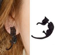 Fashion Exaggerated Punk Cool 3D Cuff Earring Stereo cute CAT mini Animal Harajuku Stud Earrings for women ER-603