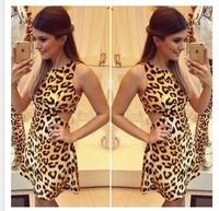 dress 2015 vestidos women summer dress new explosion models ladies round neck sleeveless leopard halter dress vestido de festa