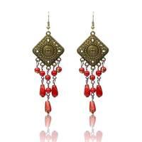 Red Multicolor Rhinestone Fashion 2015 Designer Long Drop Earrings Luxury Brincos Christmas Gifts Jewelry