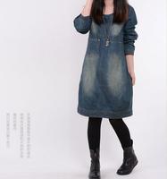 2015 New Autumn Fashion women long sleeve denim dress casual blue jeans fall dresses woman clothes vintage winter clothing B3065