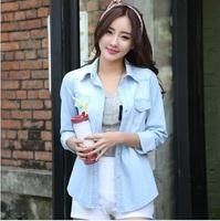 Dropshipping!2015 European American style Autumn Women blusas Denim shirt slim Blouse
