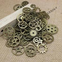 Wholesale Mix 100 pcs Vintage steampunk Charms Gear Pendant Antique bronze Fit Bracelets Necklace DIY Metal Jewelry Making T0125