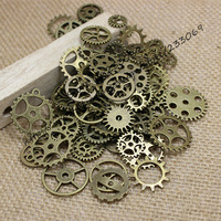 Wholesale Mix 100 pcs Vintage steampunk Charms Gear Pendant Antique bronze Fit Bracelets Necklace DIY Metal Jewelry Making T0125