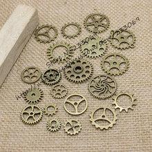 Wholesale Mix 100 pcs Vintage steampunk Charms Gear Pendant Antique bronze Fit Bracelets Necklace DIY Metal