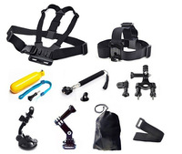 Gopro Accessories 9 in 1 Kit Chest +Head Strap+Floating Grip +Handlebar Seatpost + Monopod +Suction Cup For GoPro Hero 1 2 3 3+