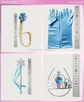 80set 4pcset Elsa Anna Snow Christmas Girl Gift Princess blue Gloves + Magic Wand + Crown + braid for Evening Dress Kids Cosplay