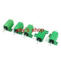 Axial Lead Aluminium Housing Wire Wound Resistors 2 ohm 25W 5 Pcs