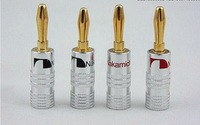 50 Pieces/Lot New Copper Gold Plated Speaker Plugs Free soldering Connector High Quality
