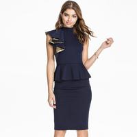 2015 New Fashion OL Womens Work Dress Elegant Ruffled Butterfly Short Sleeve Knee-length False 2 Piece Bandage Dress